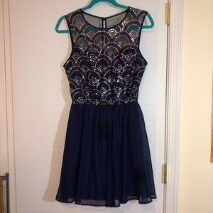 Dresses & Skirts - Sparkly Scallop Design Navy Dress